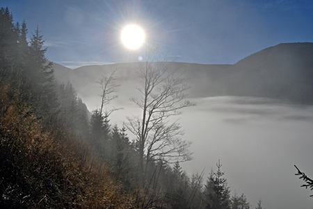 autumn morning above misty in Krkonose Mountains. near Spindleruv Mlyn photo