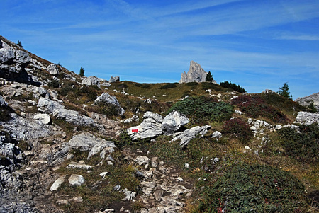 stria: peak called Sasso di Stria with Passo Falzarego on the left side