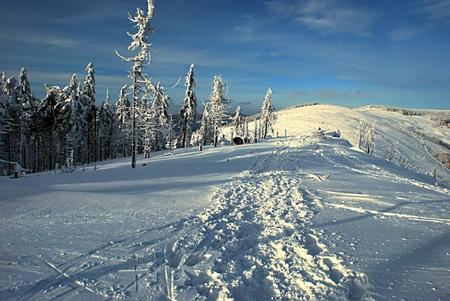 skala: winter mountains with lot of snow - Malinowska Skala and Kopa Skrzyczenska in Beskid Slaski