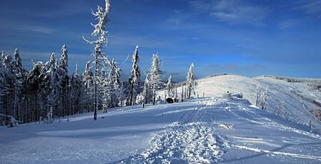 skala: winter mountains with foot-path - Malinowska Skala and, Kopa Skrzyczenska  in Beskid Slaski