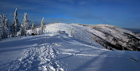 skala: winter mountains with foot-path - Malinowska Skala, Kopa Skrzyczenska and Skrzyczne in Beskid Slaski