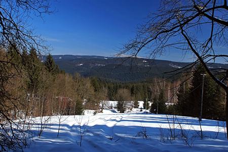 winter mountains panorama near Bily kriz in Moravskoslezske Beskydy photo