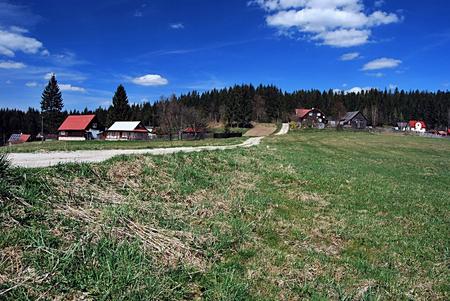 settlement: hamlets of Konecna settlement in Moravskoslezske Beskydy mountains Stock Photo