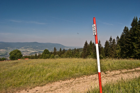 geodetic: geodetic point above Bahenec in Slezske Beskydy mountains