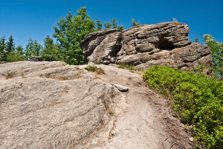 rock formation: sandstone rock formation on Kyrkawica hill in Beskid Slaski hill
