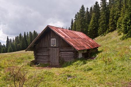 choc: hut called Hotel Choc on Stredna polana meadow in Chocske vrchy mountains