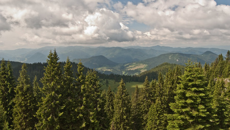 choc: view to Velka Fatra mountains during hiking to Velky Choc hill in Chocske vrchy mountains Stock Photo