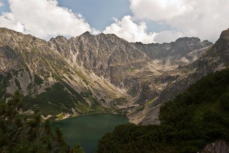 tatry: Czarny Staw Gasienicowy with peaks around in Tatry mountains