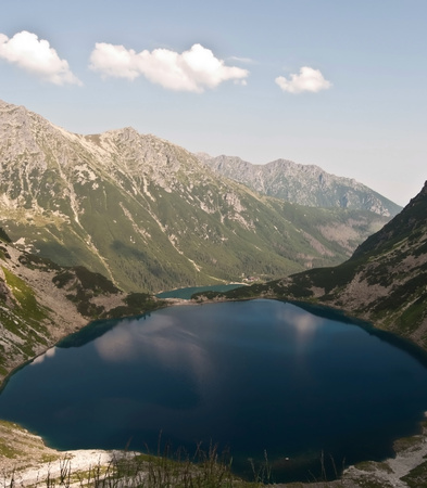 morskie: view to Morskie Oko lake with peaks around in Tatry mountains