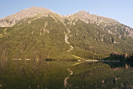 morskie: Morskie Oko lake with Miedzane edge peaks around in Tatry mountains