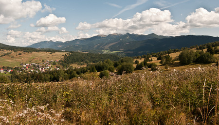 tatry: panorama of Tatry mountains with meadows