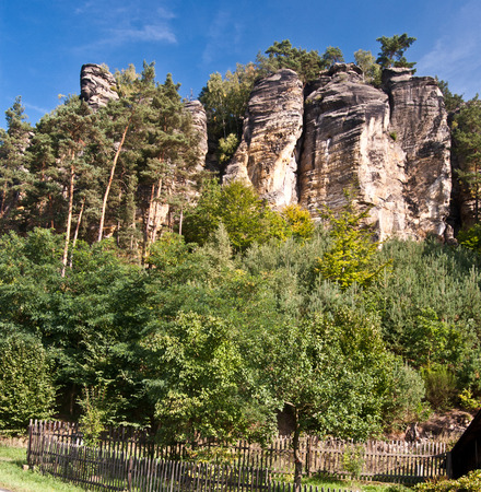 rock formation: rock formation with tree bellow above Svojkov village in North Bohemia Stock Photo