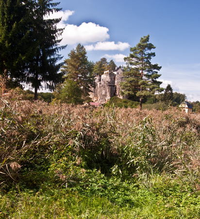 fields and meadows: beautiful autumn landscape near Sloup v Cechach village with mix of fields, meadows and rocks