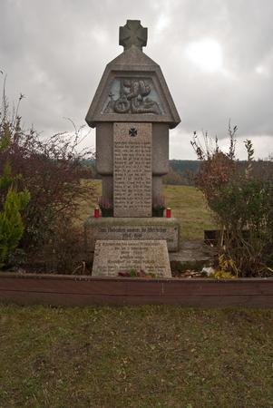 world war one: World War One memorial in former village Ujetd near As city in westernmost part of Czech republic
