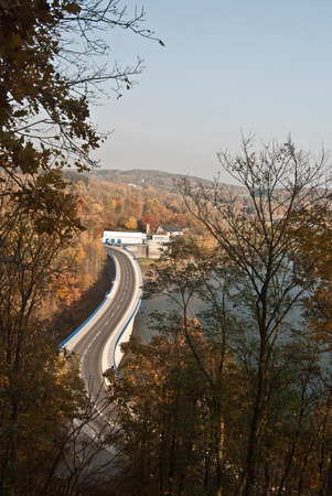 diversion: road on Pohl diversion dam near Plauen city with clear sky