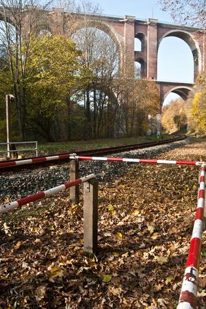 saxony: railway and Elstertalbrucke brick bridge near Plauen city in Saxony