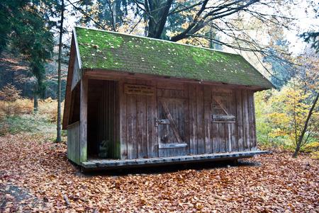 erzgebirge: wooden hut in autumn forest near Erlbach in Erzgebirge Stock Photo