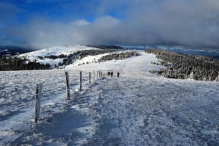 alpen: winter Fischbacher Alpen panorama near Stuhleck peak in Styria