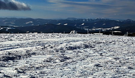 alpen: panorama of winter mountains in Styria and surroundings during snowshoeing in Fischbacher Alpen