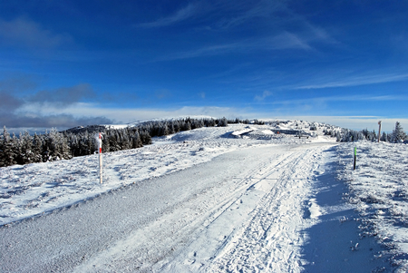 alpen: nice winter day in Fischbacher Alpen near Pretulalpe hill in Styria above Murzzuschlag in Styria Stock Photo