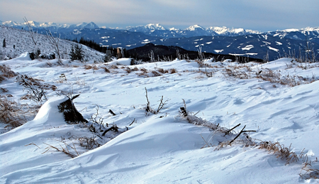 alpen: panorama of winter austrian Alps during snowshoeing in Fischbacher Alpen mountains in Styria