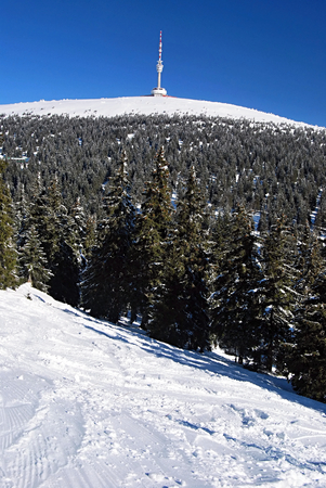 transmitter: Praded hill with television transmitter from Ovcarna ski resort in winter Jeseniky mountains with clear sky