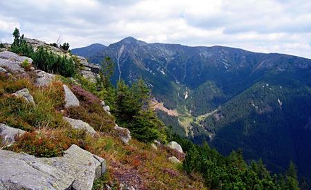 tatry: highest point of Zapadne Tatry mountains Bystra with other peaks around from Nizna Magura mountain peak
