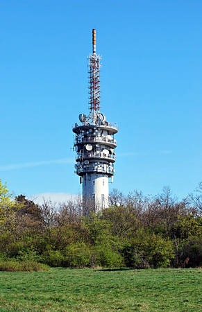 destination scenics: television transmitter on Hady hill near Brno on spring morning with clear sky