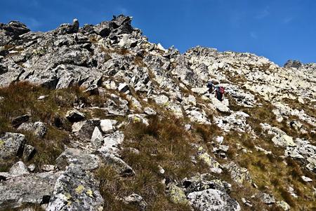 tatras tatry: near Cierne sedlo pass above Mala Zmrzla dolina valley in High Tatras mountains Tatry Stock Photo