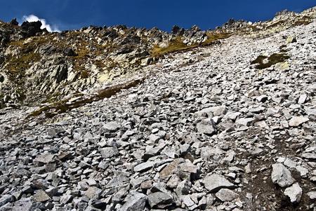 debris: blockfield with debris near Cierne sedlo pass above Mala Zmrzla dolina valley in High Tatras mountains
