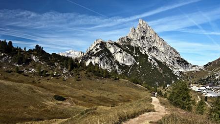 stria: peak called Sass de Stria with Passo Falzarego on the left side in autumn Dolomites mountains