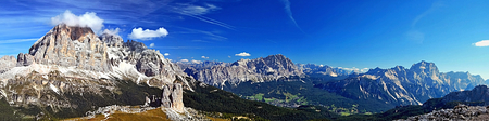 torri: Cinque Torri rock towers and Tofana di Rozes summit and other peaks in Dolomites from Nuvolau