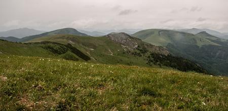 hill range: Velka Fatra mountain range with Suchy vrch, Ploska, Borisov and Cierny kamen hill from highest hill of this mountain range named Ostredok