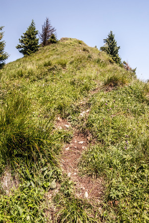 mala fatra: Osnica hill with hiking trail and clear sky in Mala Fatra mountains