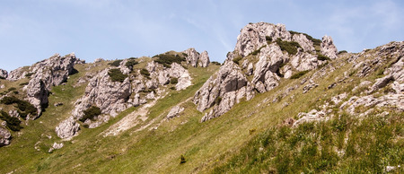 mala fatra: Velky Rozsutec hill in Mala Fatra mountains with mountain meadow, dolomitian rocks and clear sky