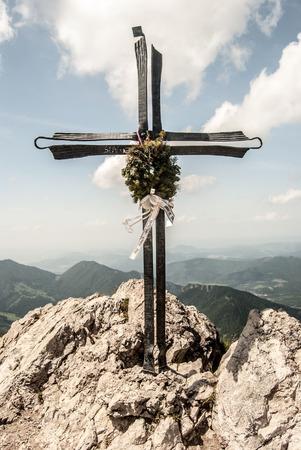 mala fatra: cross on Velky Rozsutec hill summit in Mala Fatra mountains Stock Photo