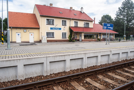 lipno: railway station building with platform and track in Horni Plana near Lipno water reservoir in South Bohemia