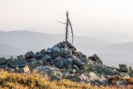 blockfield on Bridlicna hora hill in Jeseniky mountains in Czech republic Stock Photo