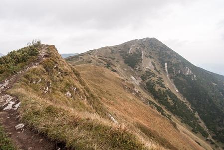 Pekelnik and Velky Krivan hill in autumn Krivanska Mala Fatra mountains in Slovakia Stock Photo