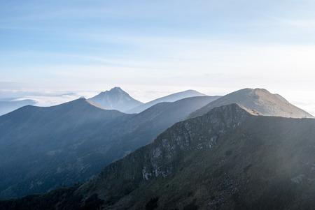 mala fatra: panorama of autumn Mala Fatra mountains with blue sky Stock Photo