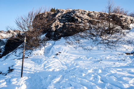 rocky Klak hill with snow covered hiking trail and clear sky in winter Mala Fatra mountains in Slovakia i Stock Photo