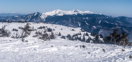 view from Martinky ski resort in Mala Fatra mountains above Martin city in Slovakia during nice winter day with clear sky Stock Photo