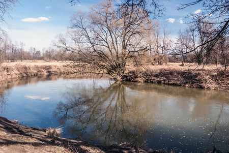 early spring landscape of CHKO Poodri near Studenka city in Czech republic with Odra river, meadow with trees and blue sky with few clouds