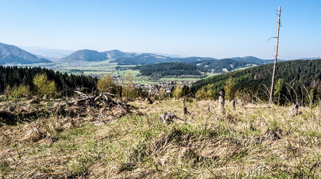countrysides: mountain landscape of Kysuce region in Slovakia with villages, countrysides, hills, meadow and clear sky