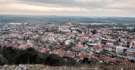 panorama of historical Mikulov city from Svaty kopecek hill in Palava mountains in South Moravia