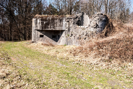 against the war: Partly destroyed MO-S-14 fortification near Ostrava city in Czech republic built before Second World War to protect Czechoslovakia against Nazi Germany Stock Photo