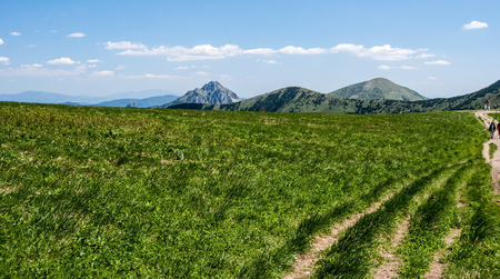 on Snilovske sedlo pass with mountain meadow, hiking trail and hills on the background in Mala Fatra mountains in Slovakia during nice spring day with blue sky and clouds