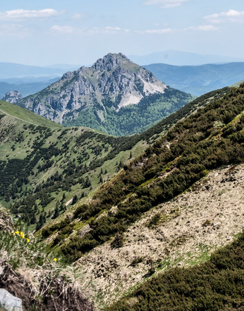 rocky Velky Rozsutec and smaller Maly Rozsutec hill from hiking trail near Hromove hill in Mala Fatra mountains in Slovakia Stock Photo