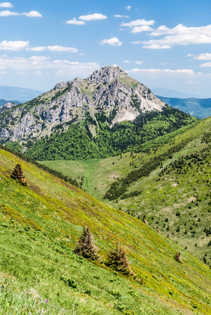 Velky Rozsutec hill from Steny mountain ridge in Krivanska Mala Fatra mountain range in Slovakia during nice day with blue sky and few clouds