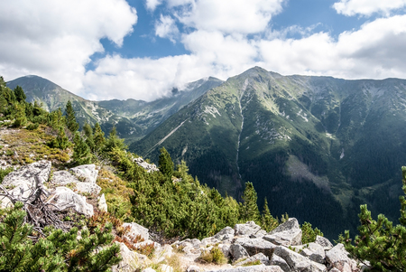 Western Tatras mountains with highest Bystra hill in Slovakia from Nizny Ostredok peak on Otrhance mountain ridge during summer day with blue sky and clouds 스톡 콘텐츠